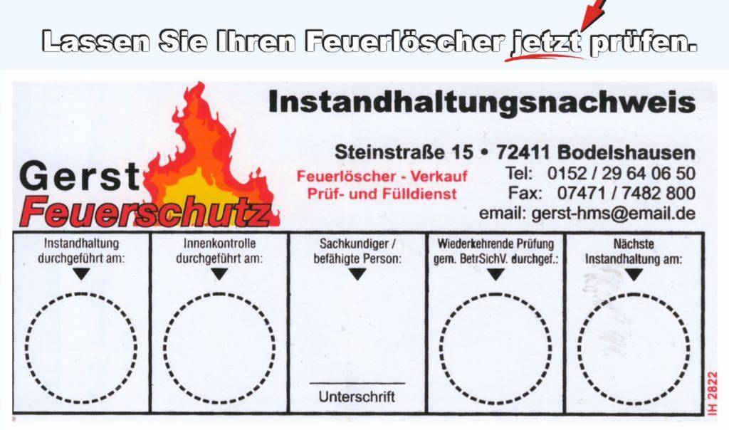 Instandhaltungsnachweis Feuerlöscher | Gerst Feuerschutz