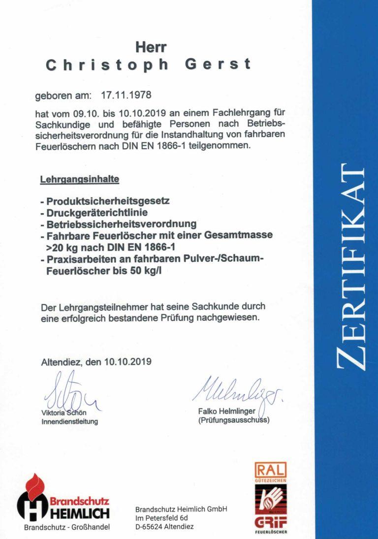 Gerst Feuerschtz | Zertifikat Instandhaltung Feuerlöscher