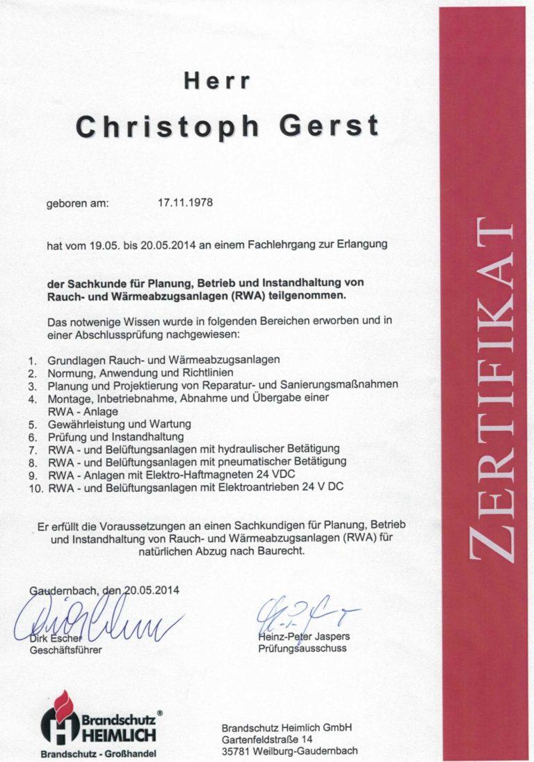 Gerst Feuerschtz | Zertifikat RWA