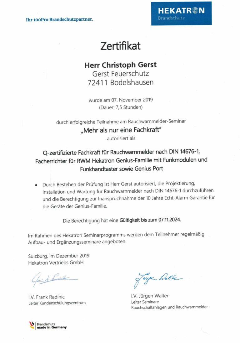 Gerst Feuerschtz | Zertifikat Rauchwarnmelder